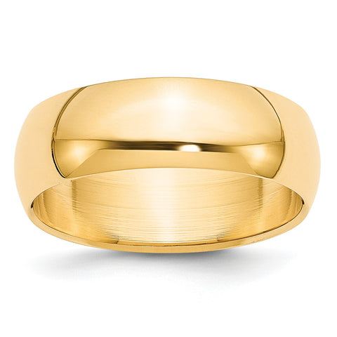 14k 7mm Half-Round Wedding Band HR070 - shirin-diamonds