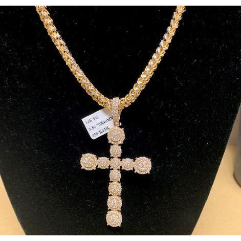 Designer 3.5ctw Genuine Diamonds Cross Pendant in Solid 14kt Yellow Gold (Chain NOT included)