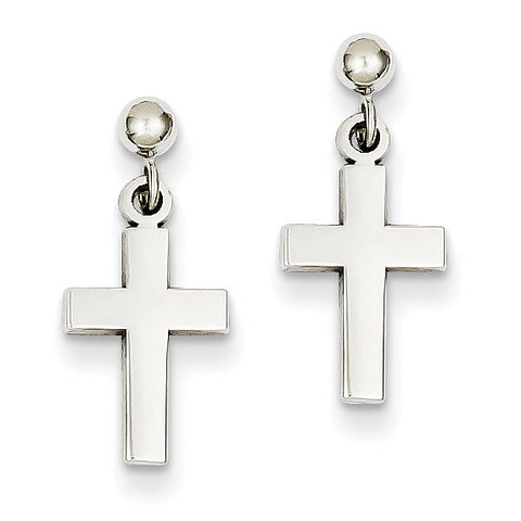 14k White Gold Polished Cross Earrings