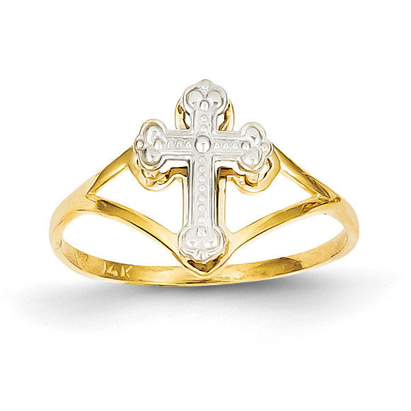 14k Two-tone Cross Ring K2054 - shirin-diamonds