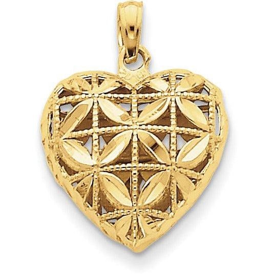 14k Diamond-cut Open Puffed Heart Pendant K2506 - shirin-diamonds