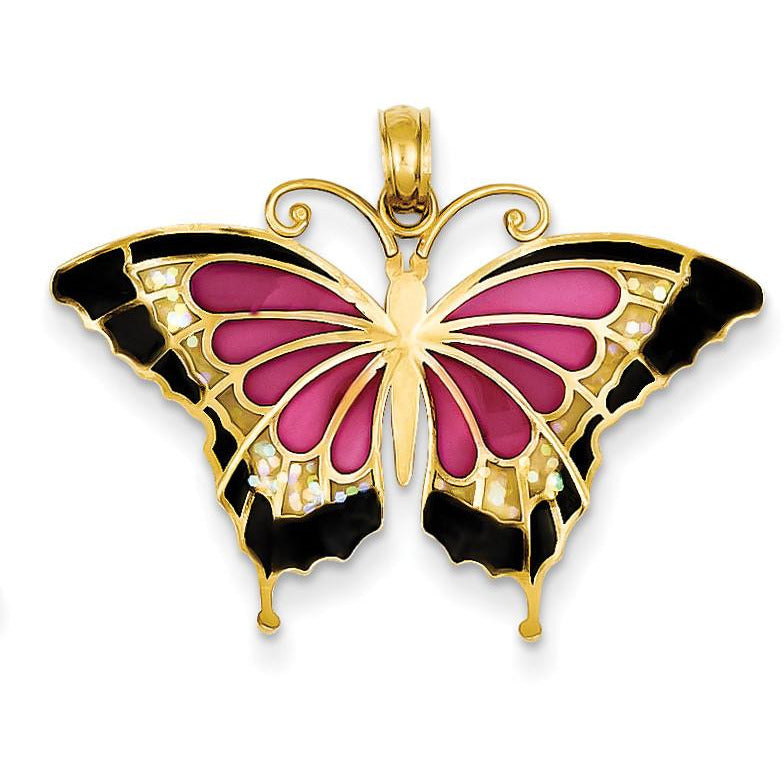 14K Translucent Acrylic Butterfly Pendant K4232 - shirin-diamonds