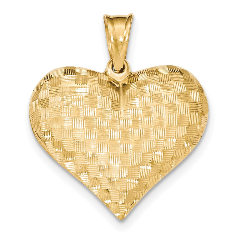 14k Textured Puff Heart Pendant K5149 - shirin-diamonds