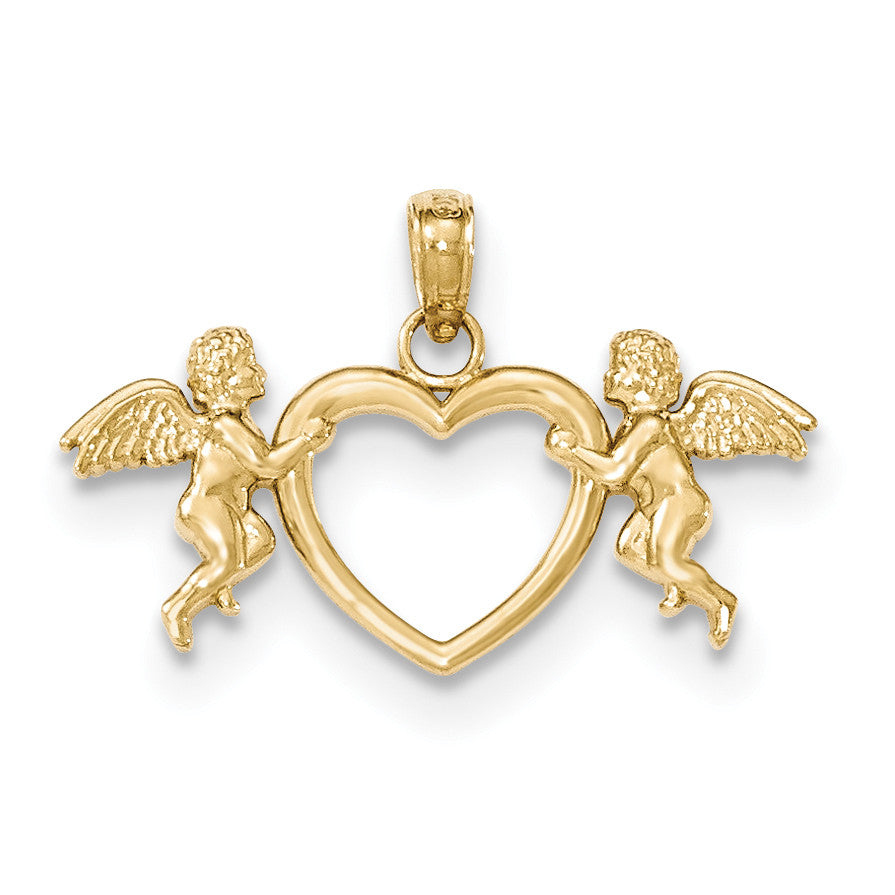 14k Flying Cherubs Holding Heart Pendant - shirin-diamonds