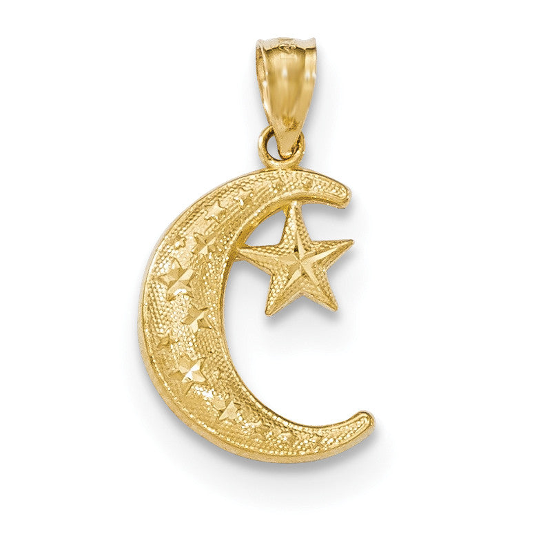 14k Gold Polished & Textured Moon & Stars Pendant K5305