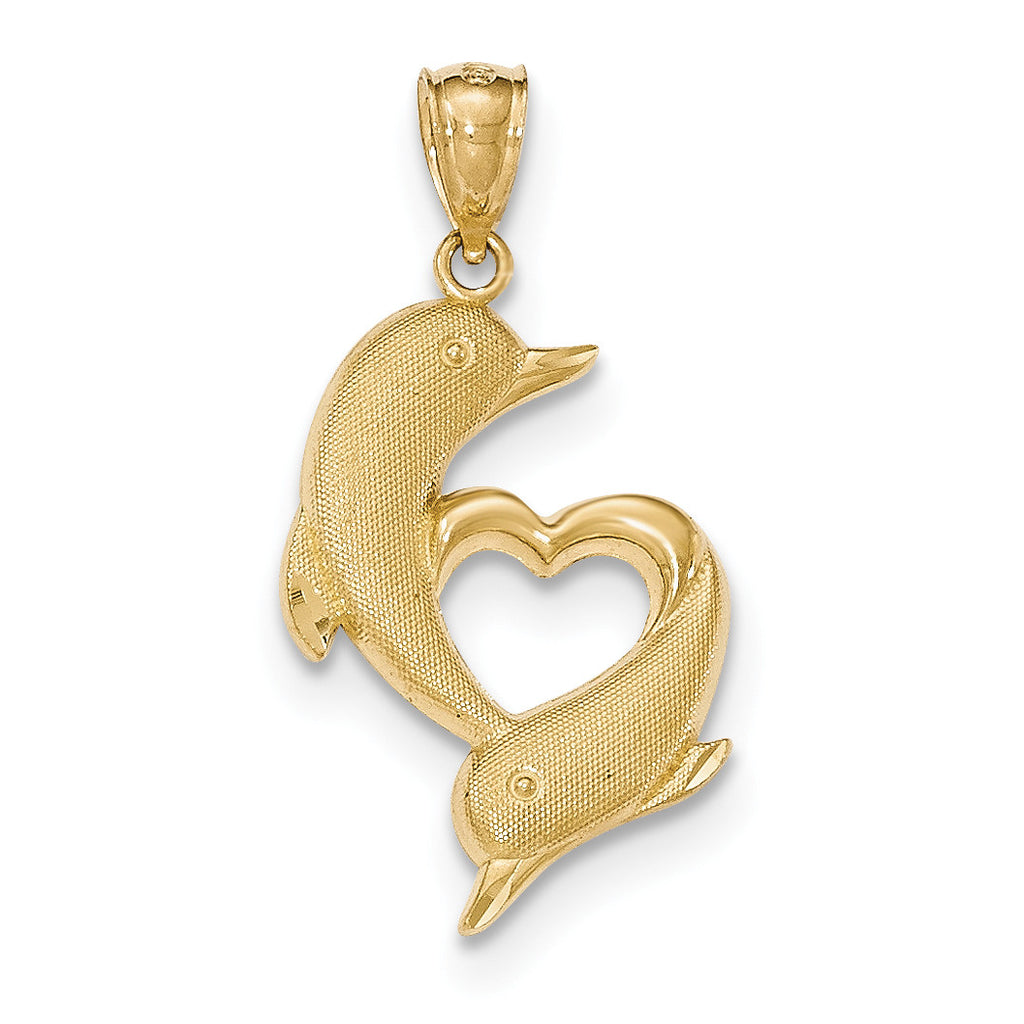 14k Gold Polished & Textured Dolphins w/Heart Pendant
