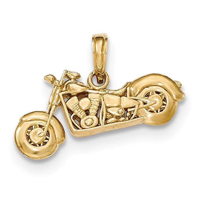 14K Gold Polished & Textured 3-D Motorcycle Pendant K5411 - shirin-diamonds