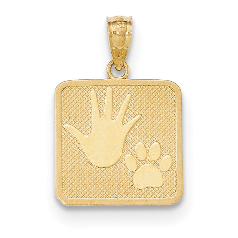 14k Gold Polished & Textured Pup & Me Square Pendant
