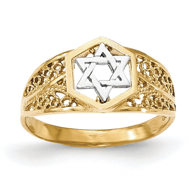 14k Two-Tone Polished Star of David Ring K5737 - shirin-diamonds