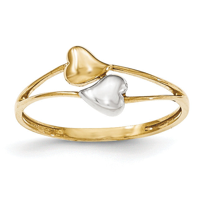 14k with Rhodium Double Heart Ring K5743 - shirin-diamonds