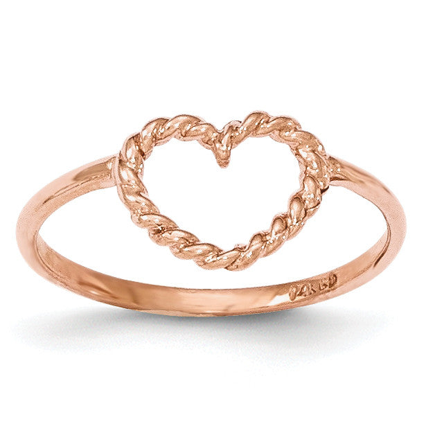14k Rose Gold Polished & Textured Heart Ring K5749 - shirin-diamonds