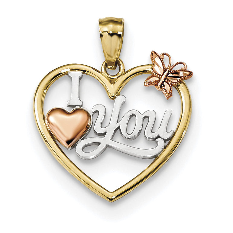 14k Yellow & Rose Polished I Love You in Heart w/Butterfly Pendant K5851 - shirin-diamonds