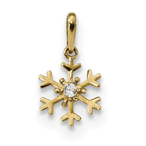 14k Polished CZ Snowflake Charm K5913 - shirin-diamonds