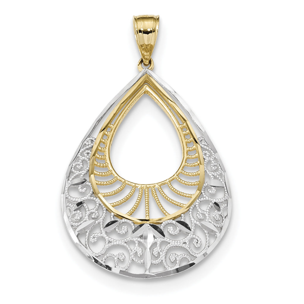 14k w/Rhodium Diamond-cut Filigree Teardrop Pendant K5959 - shirin-diamonds