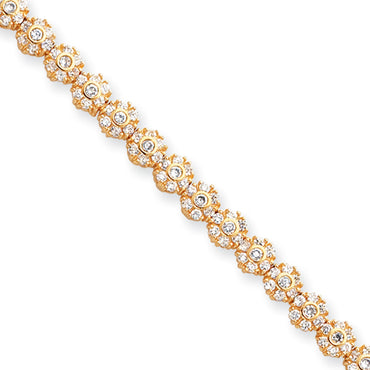 7.25in Gold-plated Kelly Waters White CZ Flower Bracelet KW107 - shirin-diamonds
