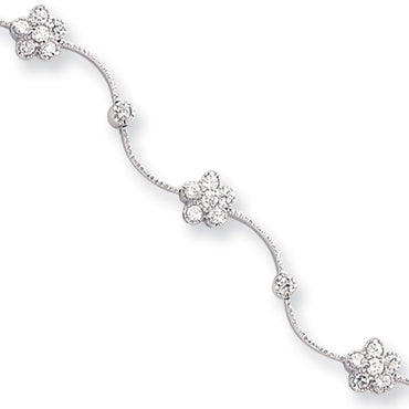 8.25in Rhodium-plated Kelly Waters CZ Flower Wave Bracelet KW111 - shirin-diamonds