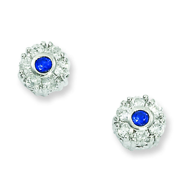 Rhodium-plated Blue and White CZ Flower Earrings