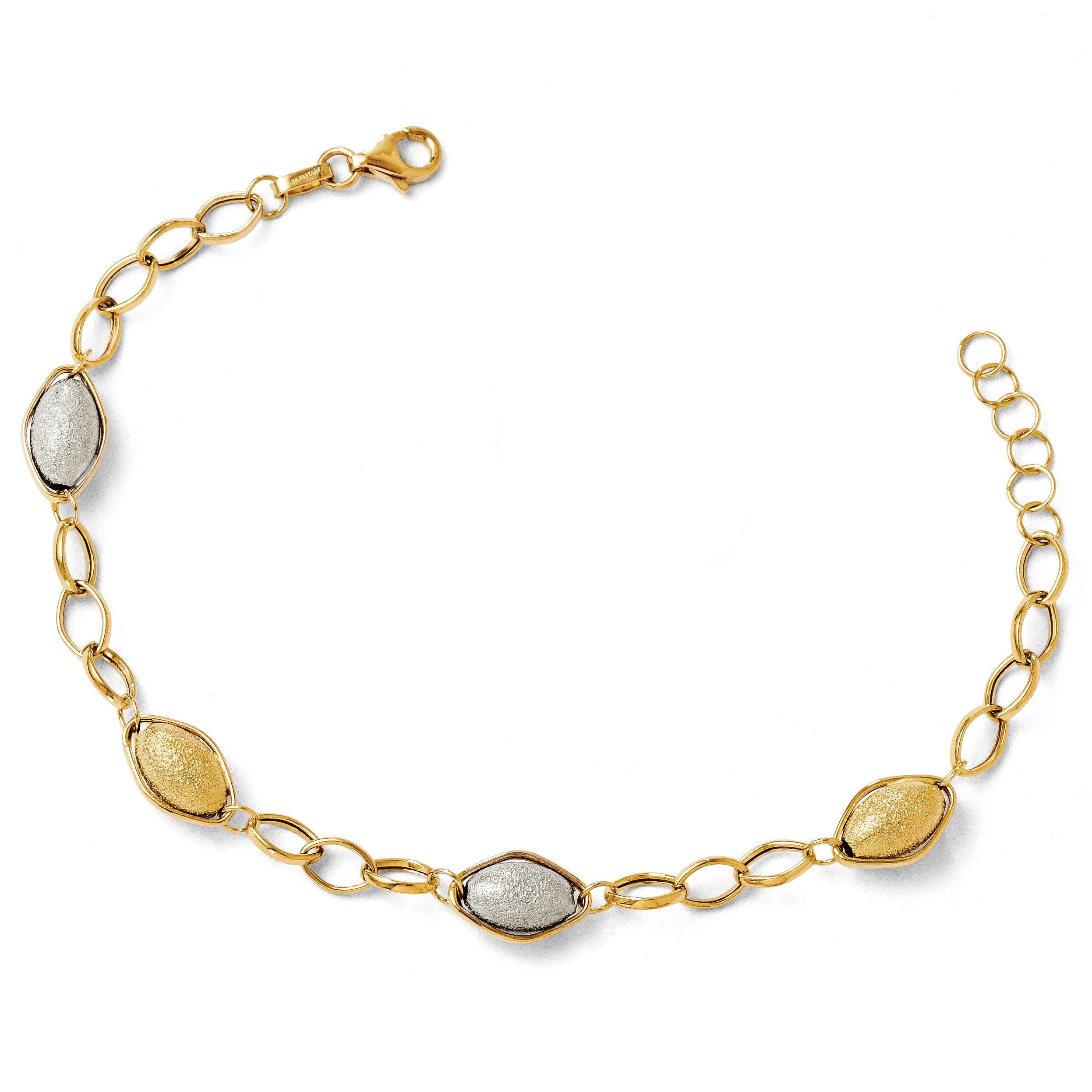 Leslie's 14K Two-tone Polished and Textured Beads w/1in ext. Bracelet LF201 - shirin-diamonds