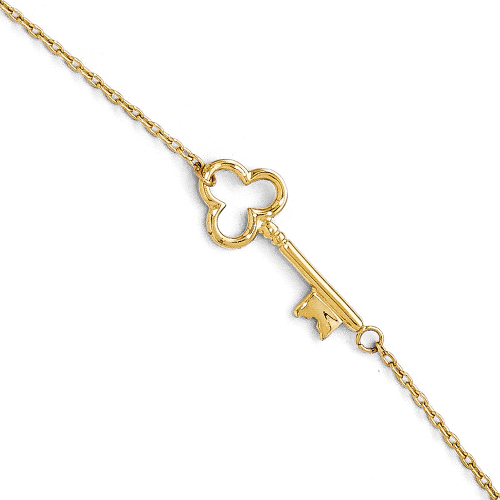 Leslie's 14K Polished Key Anklet w/1in ext. LF267 - shirin-diamonds