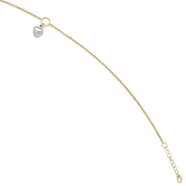 Leslie's 14K Two-tone Polished Heart Anklet w/1in ext. LF290 - shirin-diamonds
