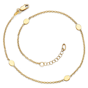 Leslie's 14K Polished Anklet w/1in ext. LF291 - shirin-diamonds