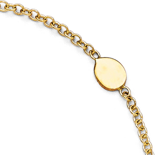 Leslie's 14k Polished Anklet w/1in ext