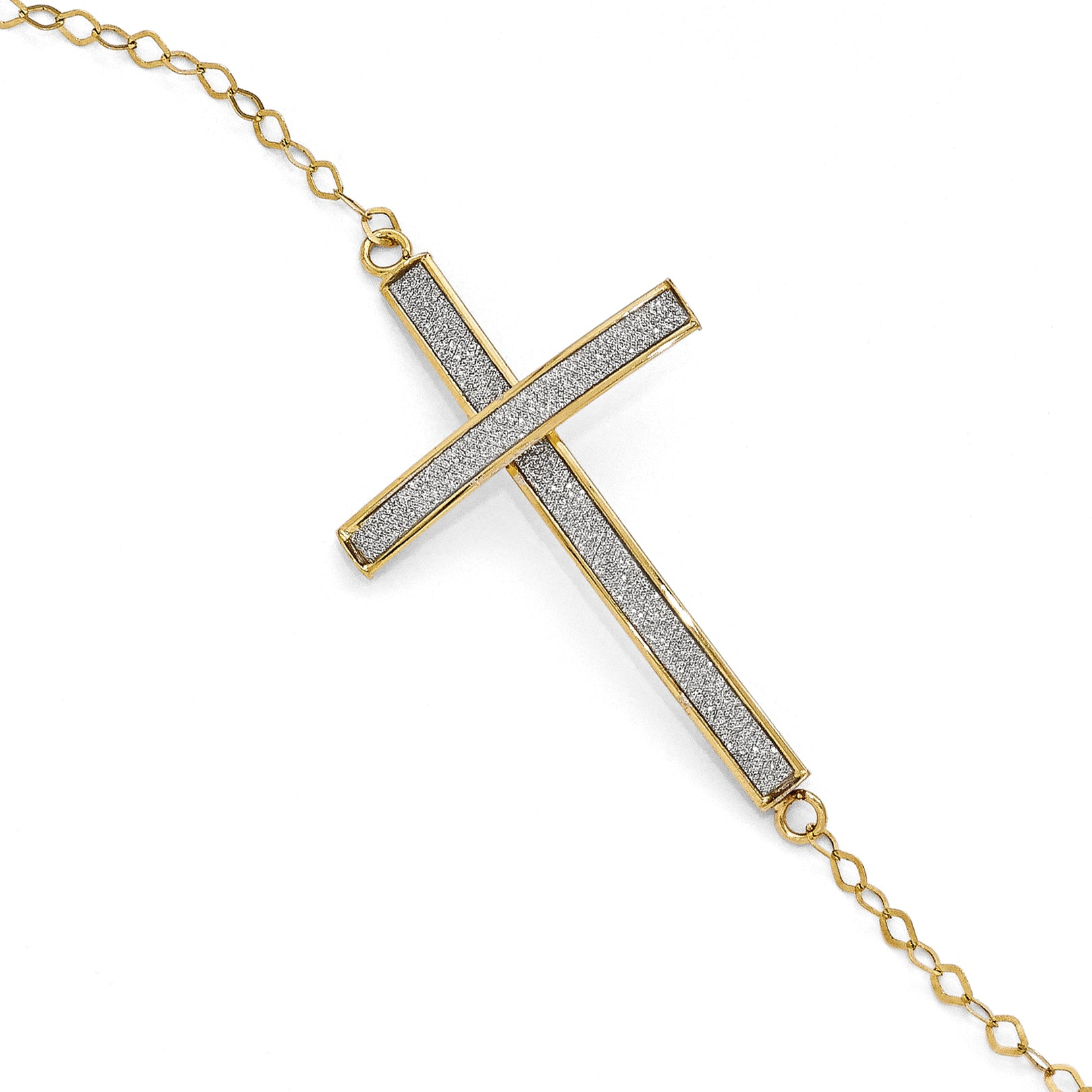 Leslie's 14K Glimmer Infused Sideways Cross Bracelet LF380 - shirin-diamonds