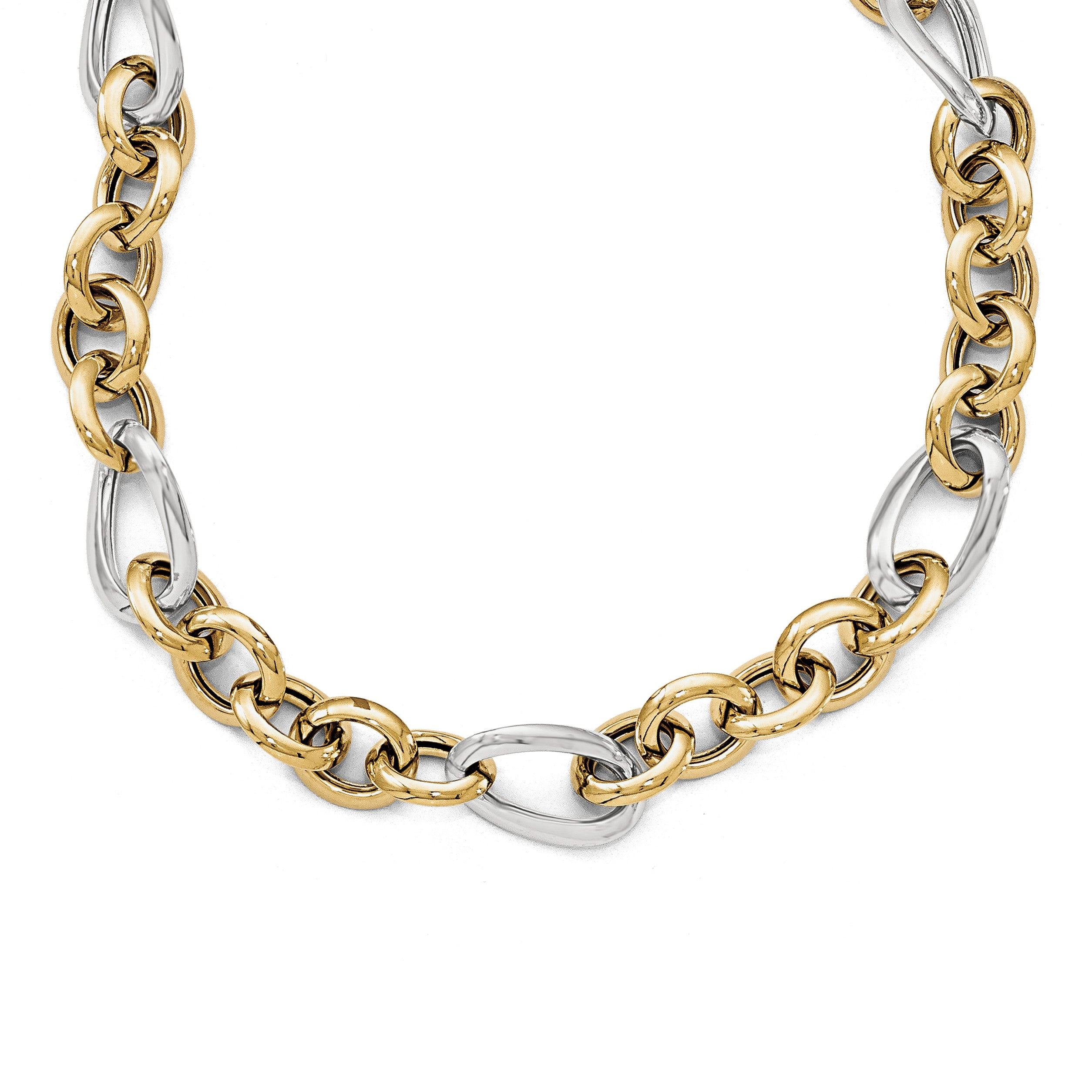 Leslies 14k Two-tone Polished Fancy Link Necklace LF409 - shirin-diamonds