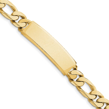 14k Hand-polished Figaro Link ID Bracelet LK110ID - shirin-diamonds