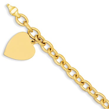 14k 8.5in Polished Engraveable Link with Heart Charm Bracelet LK313 - shirin-diamonds