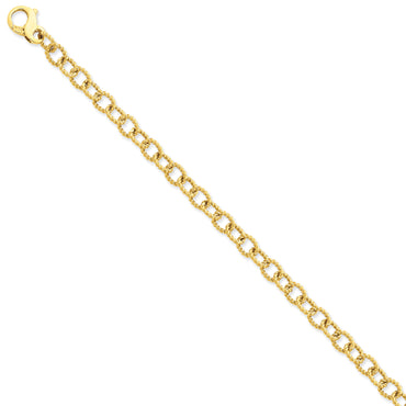 14K 6.5mm Polished Hand-polished Fancy Link Bracelet LK706 - shirin-diamonds