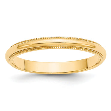 14k 3mm Milgrain Half-Round Wedding Band M030 - shirin-diamonds