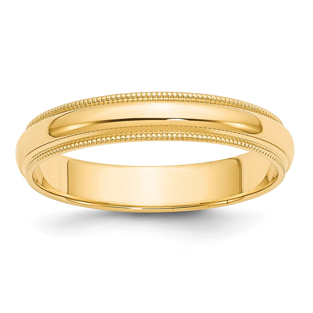 14k 4mm Milgrain Half-Round Wedding Band M040