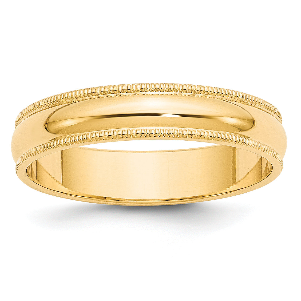 14k 5mm Milgrain Half-Round Wedding Band M050 - shirin-diamonds