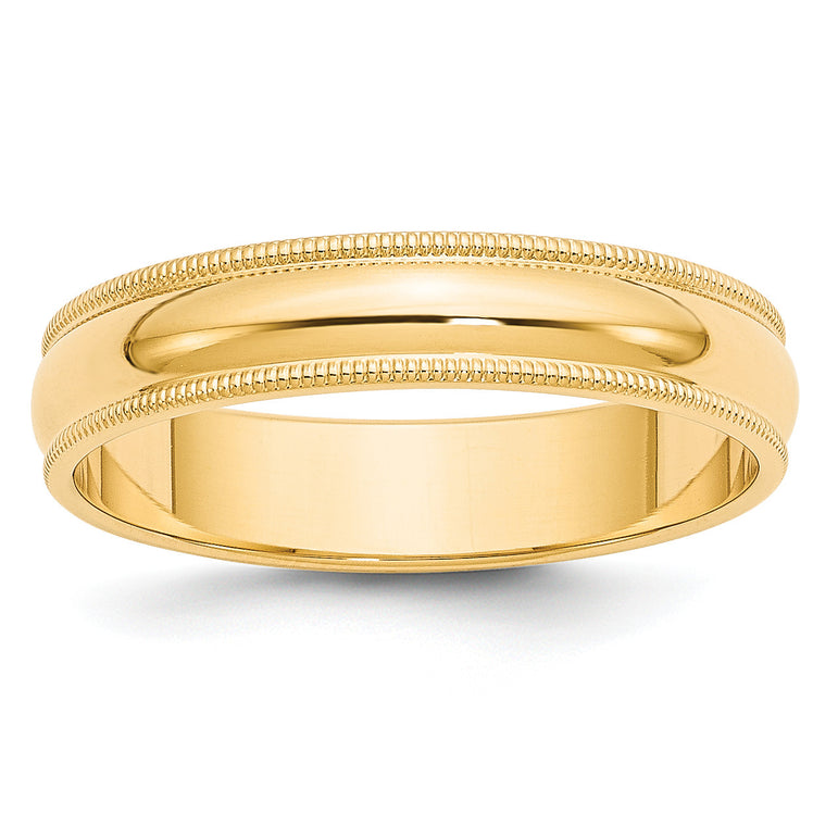 10K Yellow Gold 4mm Half Round Wedding Band Solid Machined Ring Sizes 4-14