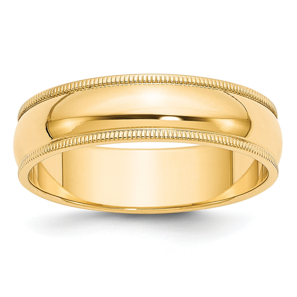 14k 6mm Milgrain Half-Round Wedding Band M060 - shirin-diamonds