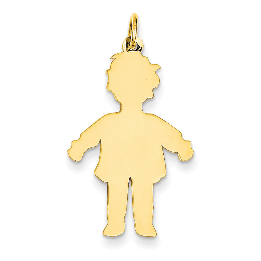 14k Plain Polished Large Boy Charm M117 - shirin-diamonds