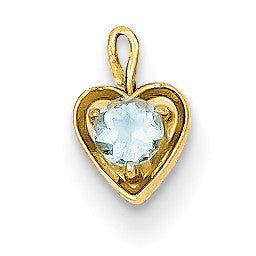 14ky March Synthetic Birthstone Heart Charm M345 - shirin-diamonds
