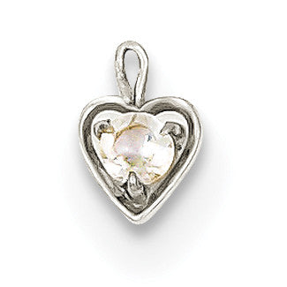 14k White Gold April Synthetic Birthstone Heart Charm M346W - shirin-diamonds