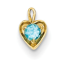 14ky December Synthetic Birthstone Heart Charm M354 - shirin-diamonds