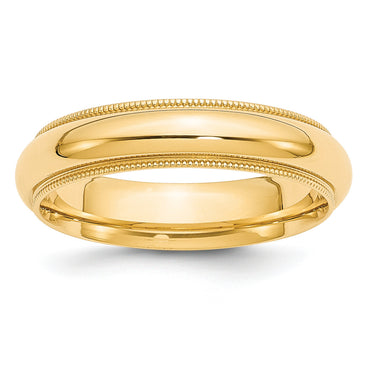 14k 5mm Milgrain Comfort Wedding Band MC050 - shirin-diamonds