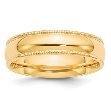 14k 6mm Milgrain Comfort Wedding Band MC060 - shirin-diamonds