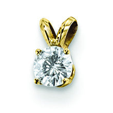 14K Moissanite 8mm Round Solitaire Pendant