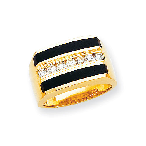14k Flat Top Polished Complete Mens Diamond And Onyx Ring OR154AA