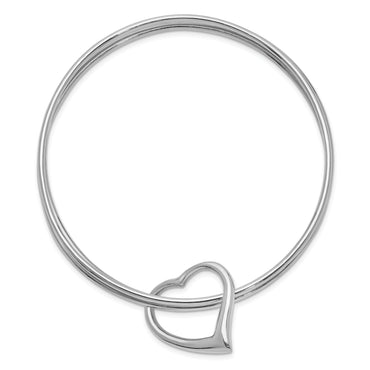 Sterling Silver Rhodium-plated Polished 3 Piece Heart Slip On Bangle QB1076 - shirin-diamonds