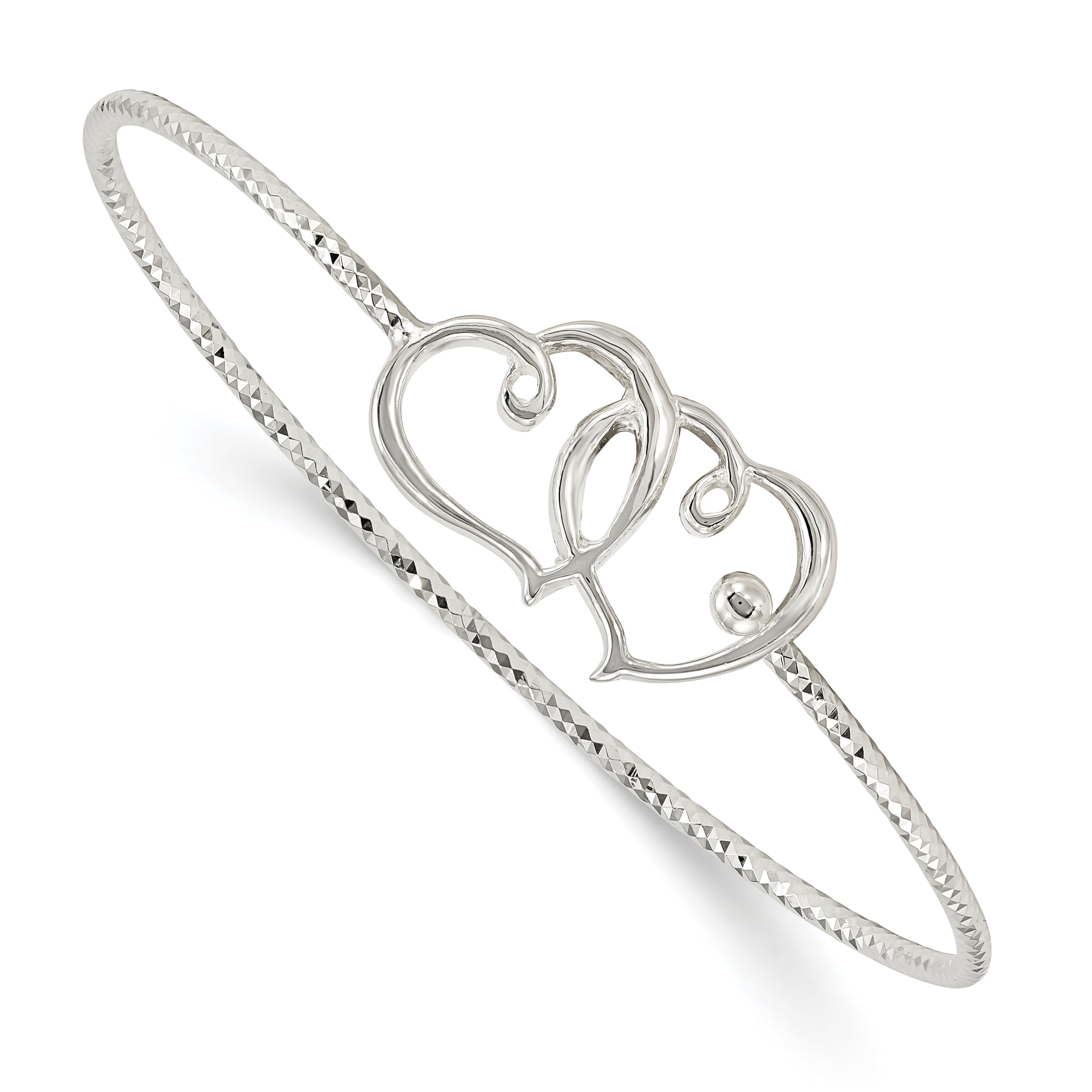 Sterling Silver Diamond Cut Double Heart Interlocking Bangle Bracelet QB1122 - shirin-diamonds