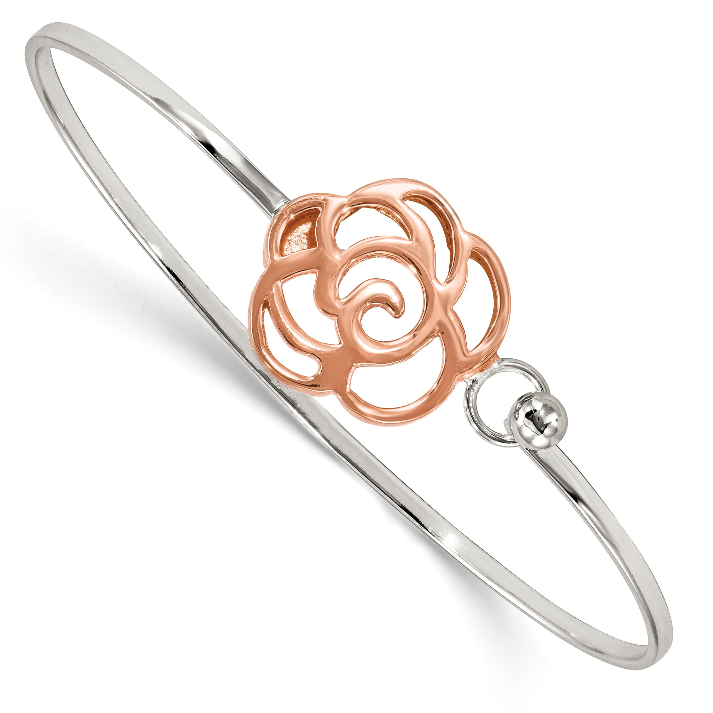 Sterling Silver Rose-tone Polished Flower Bangle QB1135 - shirin-diamonds
