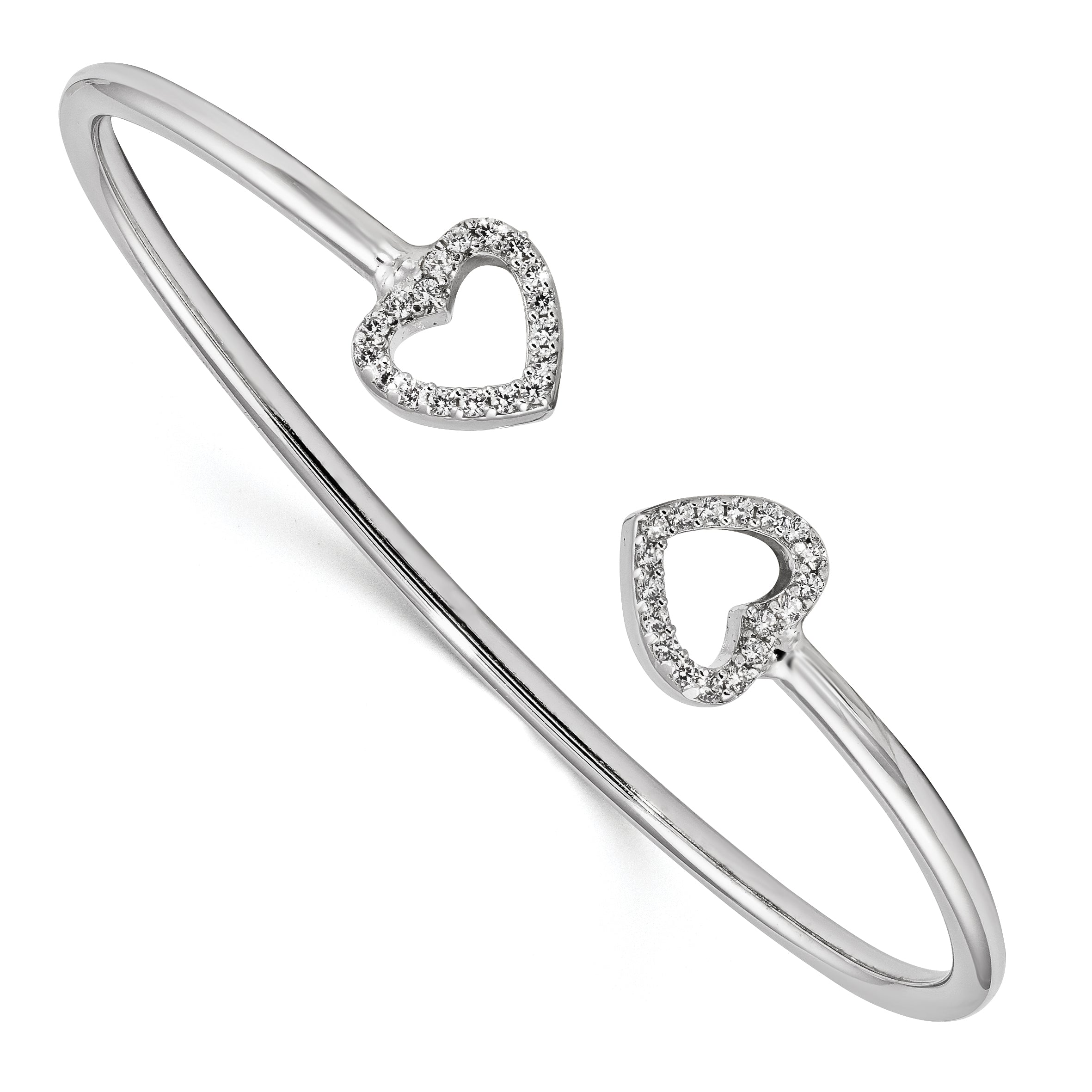 Sterling Silver Rhodium-plated CZ Heart Cuff Bangle QB1180 - shirin-diamonds