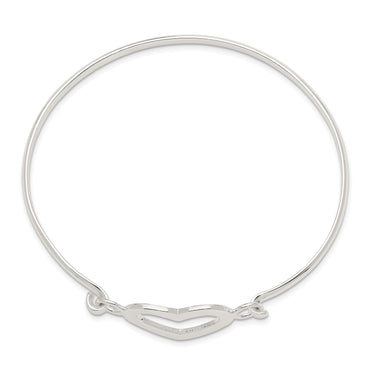 Sterling Silver Heart Bangle Bracelet QB407 - shirin-diamonds
