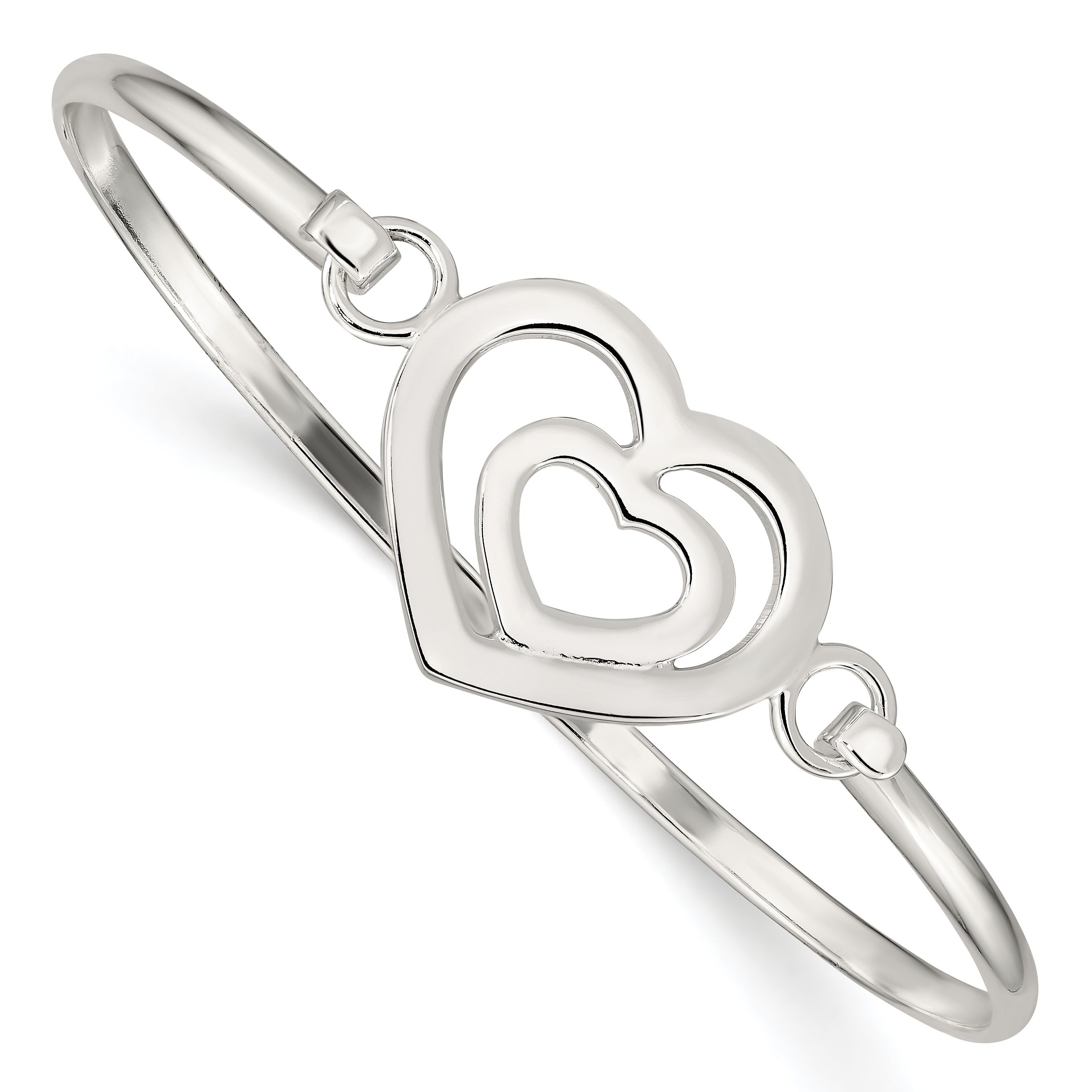 Sterling Silver Heart within a Heart Bangle Bracelet QB408 - shirin-diamonds